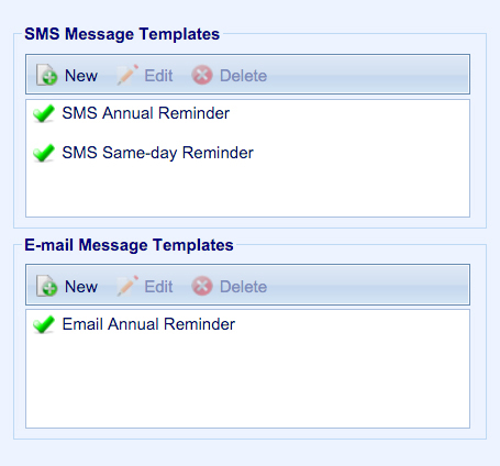 SMS Message Template
