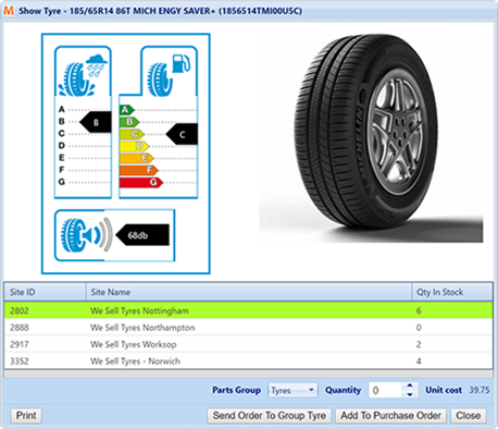 VGM tyre ordering tyre label screenshot
